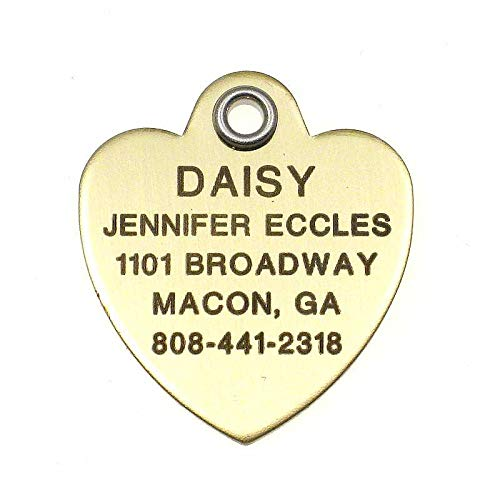 LuckyPet Pet ID Tag - Polished Brass Heart - Custom Engraved Dog Tags & cat Tags. Durable, Easy to Read, Safety Reflective on Back. Size: Small