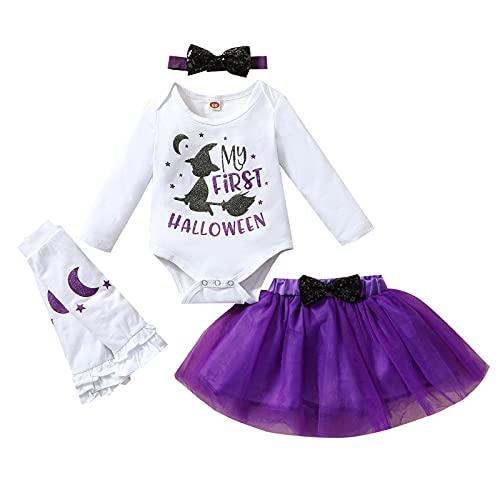 4 unids Halloween bebé niña manga larga impresión carta mameluco tutú falda diadema calentador pierna recién nacido Halloween ropa, Blanca B, 6-12 Meses
