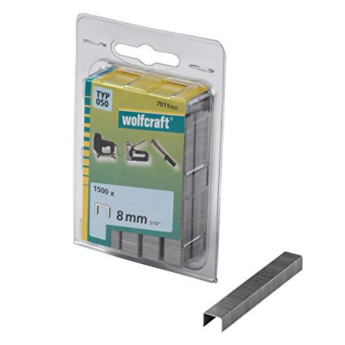 Wolfcraft 7011000 7011000-1500 Grapas de Lomo Ancho, Tipo 050, 100 x 50 x 50 cm, Set de 1500 Piezas