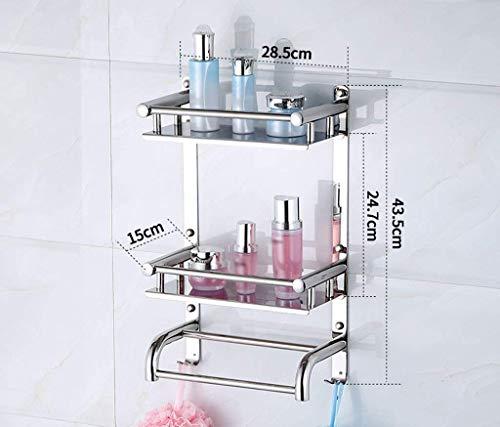 Badkamerrek van roestvrij staal 304 om op te hangen aan de muur met dubbele stang en dikke cosmetica-plank voor badkamerhanddoeken, planken (afmetingen: 28,5 x 15 x 14,5 cm). 28.5*15*43.5CM