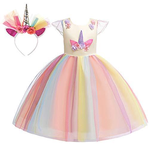 New front Disfraz de Unicornio Vestido de Princesa Nia Beb con Diadema Fiesta Ceremonia Cumpleaos Infantil Carnaval Nia Cosplay Boda Partido Vestido Tul Tutu con Encaje de Flor sin Mangas 3-8 aos