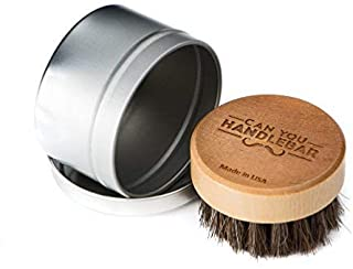 Beard Balm Application Brush | Can You Handlebar Beard Oil Brush® | Natural Cruelty-Free Horsehair Beard Brush | Made in USA
