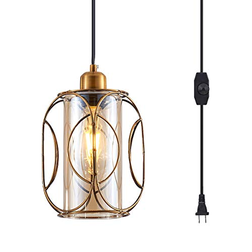 YLONG-ZS Vintage Pendant Lighting Fixtures with Plug in Hanging Cord and...