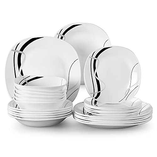 Tafelservice Opalglas, VEWEET Fionaglas 24 tlg | Geschirrset beinhatlet Schalen 620 ml, Dessertteller, Speiseteller und Suppenteller| Kombiservice für 6 Personen