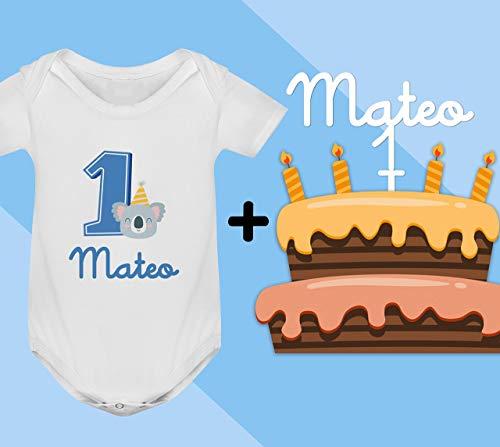 Conjunto regalo cumpleaños Cake Topper + Body o camiseta personalizado con el nombre decoración fiesta animales para Bebes Unisex Niños Niñas primer cumpleaños velas