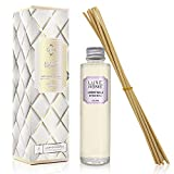 Luxe Home Lavender & Vanilla Reed Diffuser Refill Oil with Sticks   Scented Replacement Oil for Room Diffuser   Liquid Air Freshener   Includes Replacement Reeds