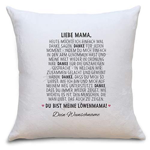 Löwenmama Flauschiges Kissen mit Motiv Personalisiert mit Namen Geschenke Geschenkideen für Mama zum Geburtstag Weihnachten Zierkissen mit Füllung
