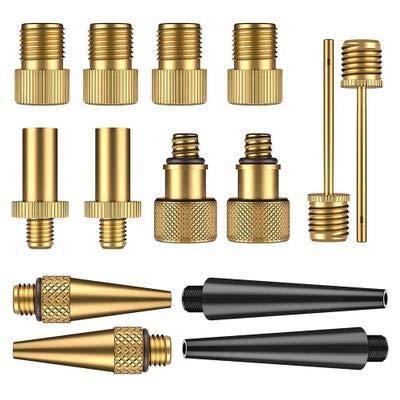 Yongenee Copper Inflator Pump Nozzle Kit Presta Schrader Valve Adapter Tube Bicycle Valve Adaptors for Road & MTB & Fixie Bike Tire Pump (Color : 14 pcs one Set)