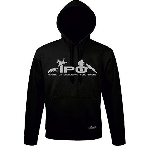 Siviwonder Unisex Kapuzen Sweatshirt IPO Hundesport Schutzdienst schwarz - hellgrau XL