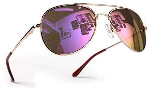 Miobo Hochwertige Pilotenbrille Fliegerbrille Sonnenbrille verspiegelt (Kinder 3-9 Jahre Alt, Gold Lila)