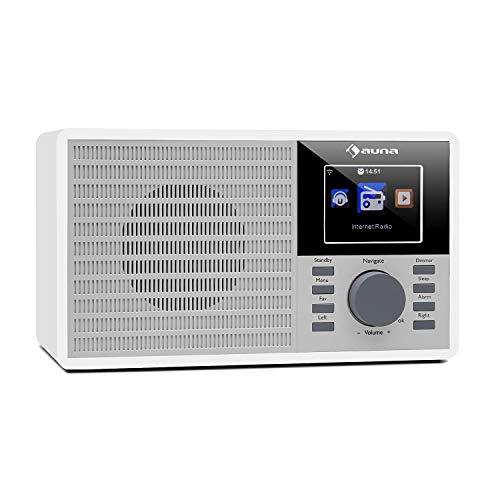 auna IR-160 Internetradio mit WLAN - MP3/WMA-fähiger USB-Port, AUX-Eingang, Netzwerk-Streaming, 2.8' TFT-Display, integrierte Lautsprecher, Fernbedienung, weiß