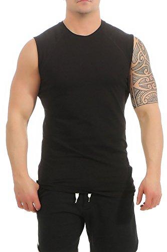 Mivaro Herren Shirt ohne Ärmel - Tank-Top - Muscle Shirt - Muskelshirt - Achselshirt - T-Shirt ohne Arm, Größe:L, Farbe:Schwarz