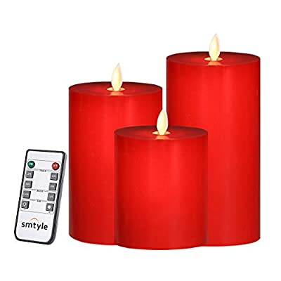 smtyle Red Battery Operated Candles with Moving Flame Wick and Timer, Flameless Flickering LED Pillar Candles
