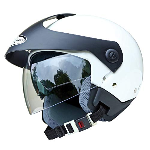 Saferide | Helm Motorrad Mit Sonnenblende Matt Weiß S - 55-56 cm Rollerhelm Quad Damen Herren Roller Motorradhelm Regenschutz Jugendliche Schutzhelm Sturzhelm Erwachsene Moped Mofa
