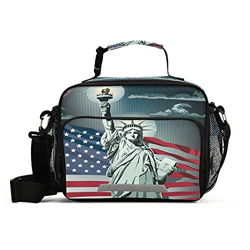 HMZXZ Bolsa de almuerzo aislada con bandera americana con correa ajustable extraíble para el hombro, contenedor reutilizable para mujeres, hombres, picnic, trabajo, escuela, oficina