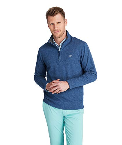 vineyard vines Men's Saltwater Half Zip Pullover, Deep Bay, XX-Large