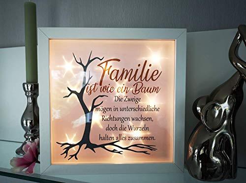 AScreativ 3D-Bilderrahmen mit Spruch Familie Baum- beleuchtet Leuchtrahmen Geschenk Homedeco modern