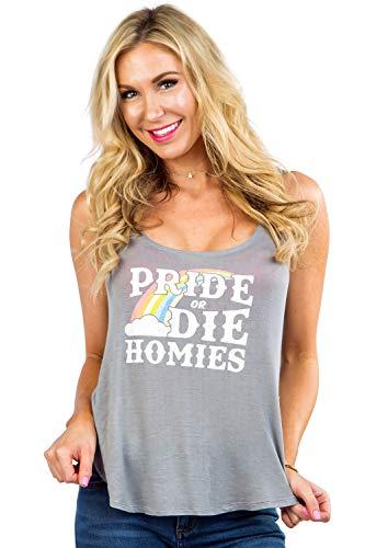 Women's Pride or Die Homies Tank Top - Pride Rainbow Shirt: Grey, L