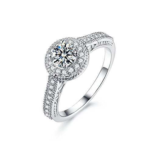 Sreema London 925 Sterling Silver Vintage Look Round Halo Accent Women's Wedding Engagement Promise Ring with Gift Box, Ideal Gift for Ladies (52 (16.6))
