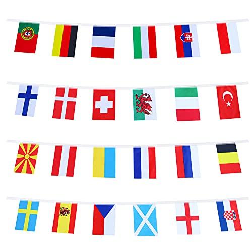 HusDow Wimpelkette Euro 2021, Euro-Fußball-Meisterschaftsbanner 20 x 28 cm mit 24 Nationalflaggen, 10 Meter Fußball-Wimpelkette für EM 2021 Decoratoins