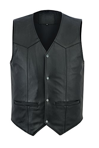 Ruja Men's Motorbike Club Style Classic Genuine Leather Vest