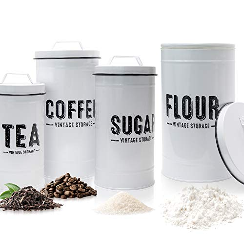 Aesthethic Farmhouse Kitchen Canister Set For Kitchen Counter - Set of 4 Airtight Flour Sugar Coffee And Tea Containers Look Fabulous on Your Kitchen Countertop