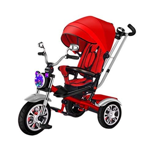 GYF con el Triciclo Triciclo Toldo Diseño de música de múltiples Funciones de los niños, del bebé al Aire Libre Triciclo, 3 Colores, 100x98x65cm (Color : Red)