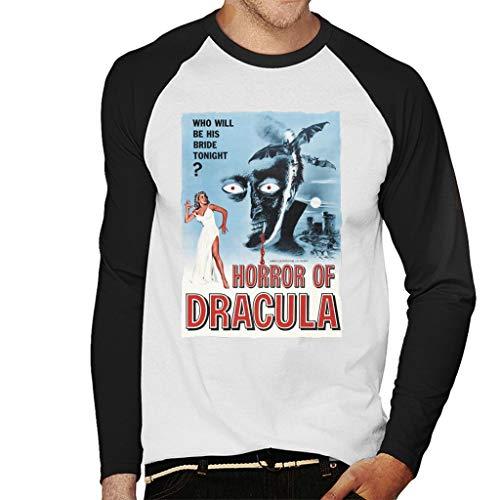 Hammer Horror Films Dracula Classic Film Poster Honkbal heren T-shirt met lange mouwen