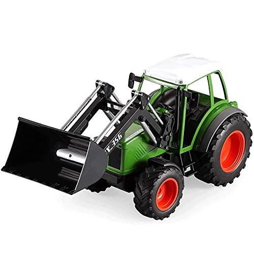 1:16 Control Remoto Camión de ingeniería agrícola Coche de Juguete eléctrico Transportador agrícola Modelo 2.4G Volcado de Remolque/Rastrillo Alto S (Coche RC)