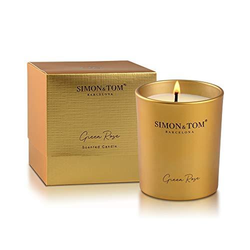 Simon & Tom aromatische luxe geurkaars gemaakt van NATUURLIJKE Soja Wax, Geur van groene roos, Langdurige geur, 4 uur brandtijd.