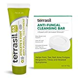 Athletes Foot Anti-Fungal Treatment 2-Product Kit - Kills Fungus 6x Faster, Natural Ingredients with Tea Tree Oil and Clotrimazole by Terrasil (25gm tube & 75gm anti-fungal cleansing bar)