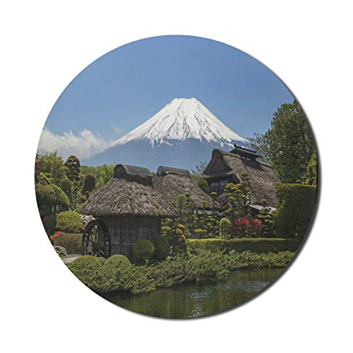Ambesonne Mountain Mouse Pad for Computers, Fairytale Like Old Japanese Design Hut Spring Garden and Rocky Hills Photo, Round Non-Slip Thick Rubber Modern Gaming Mousepad, 8' x 8', Multicolor