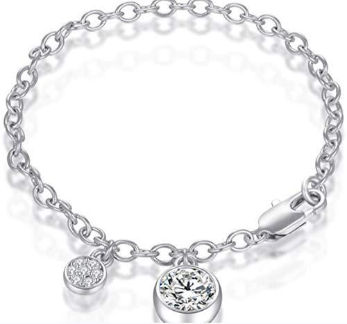 "JINZIO CZ Bracelets for Women Girl 925 Silver Pendant Round Cubic Zirconia Solitaire Wedding Gifts,Mother's Day, Valentine's Day, Christmas, Birthdays, June Birthstone, Engagement, Brides 7"""