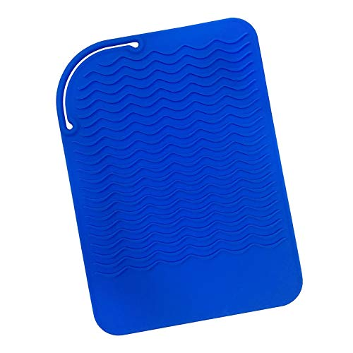 Sygile Silicone Heat Resistant Travel Mat, Anti-heat Pad for Hair Straighteners, Curling Irons, Flat Irons and Other Hot Styling Tools - Dark Blue