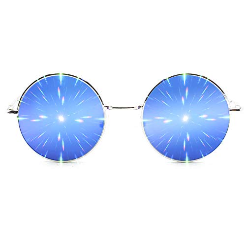 GloFX Limited Edition Specialty Diffraction Brille - Rave Eyes Party Club 3D Trippy (Blau)