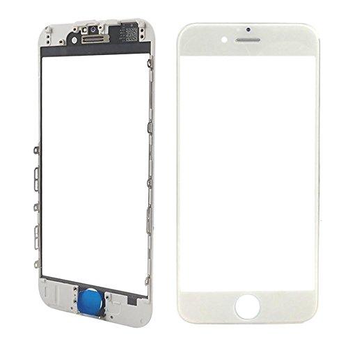 MMOBIEL Front Glas mit Rahmen kompatibel mit iPhone 6S (Weiss) inkl. Hörmuschel Abdeckung (Earpiece Mesh) Ersatz