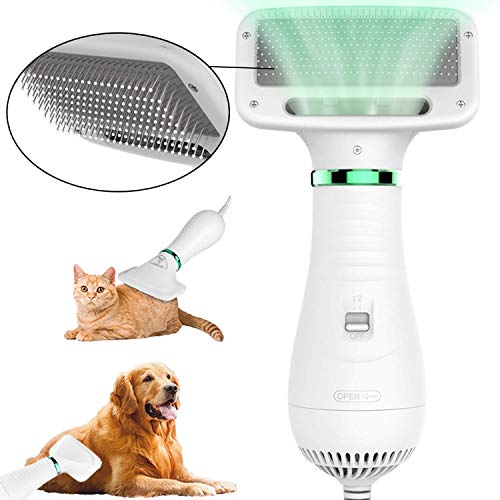 2 in 1 Pet Hair Dryer, Pet Grooming Hair Dryer Blower with Slicker Brush, Dog Hair Dryer with Adjustable Temperatures Settings, Best Fit for Short Haired and Medium Coated Breeds