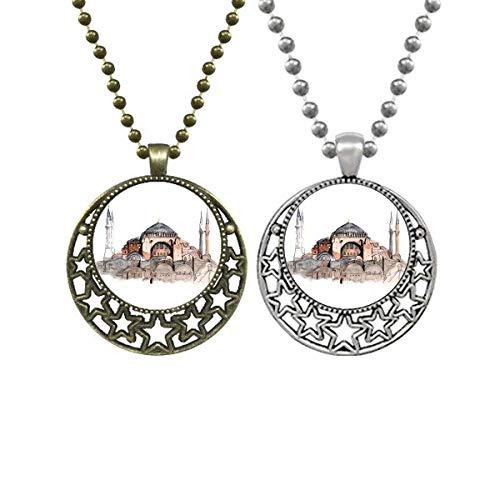 Collar con colgante de Turquía de Santa Sofía de Estambul para amantes de la luna y estrellas