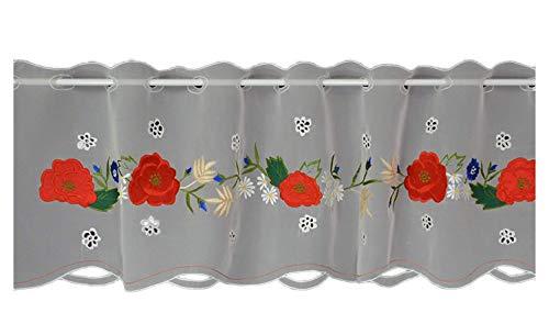 Hossner Scheibengardine Mohnblume Bistrogardine Kurzstore Cafehausgardine Voile Bestickt Landhaus Shabby Vintage 30/100 cm weiß-rot