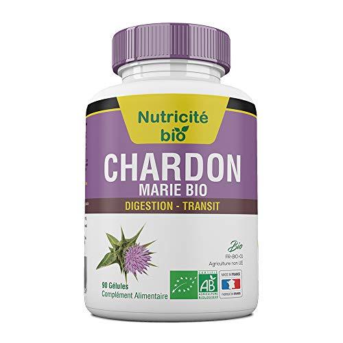 Chardon-Marie Bio 90 gélules de Nutricite-bio - Facilite le transit intestinal – Efficace en quelques jours – Chardon marie 200mg pour soulager le foie et la digestion
