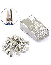 VCE 25-pack RJ45-kontaktpass genom 8P8C CAT6 skärmad anslutningsände Ethernet modulkontakt
