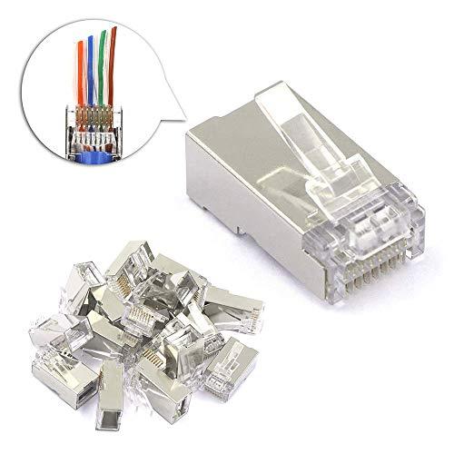 VCE 25 Pezzi Connettore Lan Plug RJ45 di Rete Cat6 Schermato Connettore Cat6 Cavo Ethernet 8P8C STP