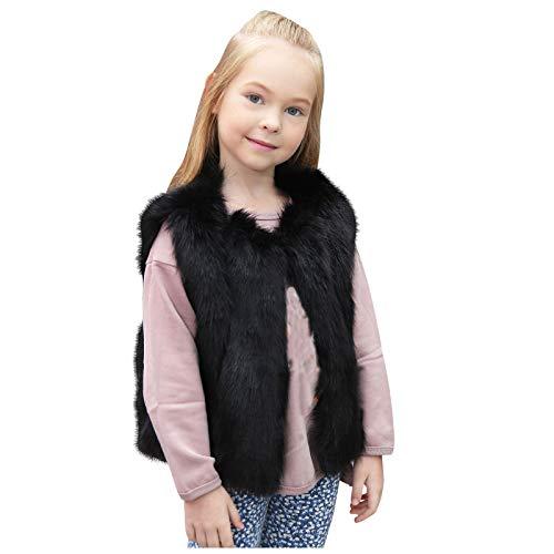 Sunymi - Chaqueta de invierno con capucha para bebés y niños de 1 a 7 años para niños pequeños y niñas, ropa de invierno cálida de pelo sintético chaleco grueso