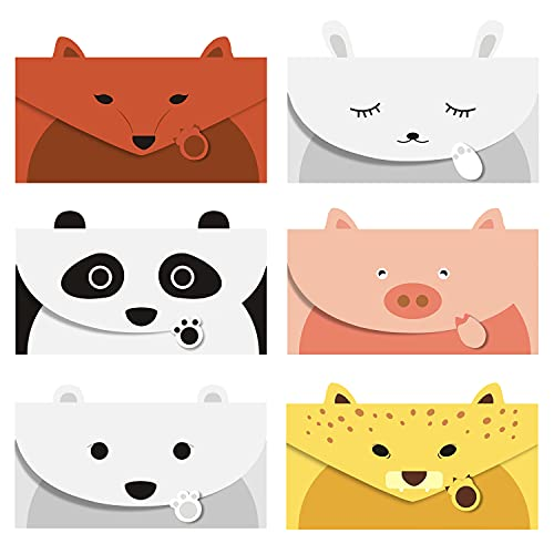 """JINSRAY Cute Lovely Animal Cartoon Letter Writing Stationery Paper, Greeting Card, Thank You Card, 12pcs with Envelopes and Animal Stickers,Size 6.3"""" X 8.3"""" Paper, – Panda Bear Fox Leopard Pig Rabbit"""
