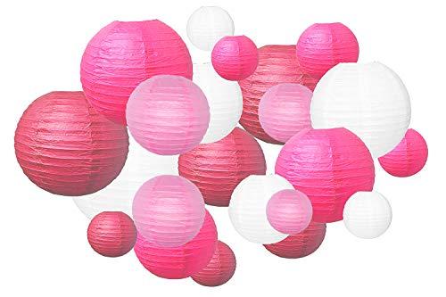 Trofou 20 pcs Lanternes en Papier, Colorés et Différentes Tailles Lampion Papier pour Décoration de Mariage,Noël,Maison,Anniversaire,Fête (Multi-Rose)