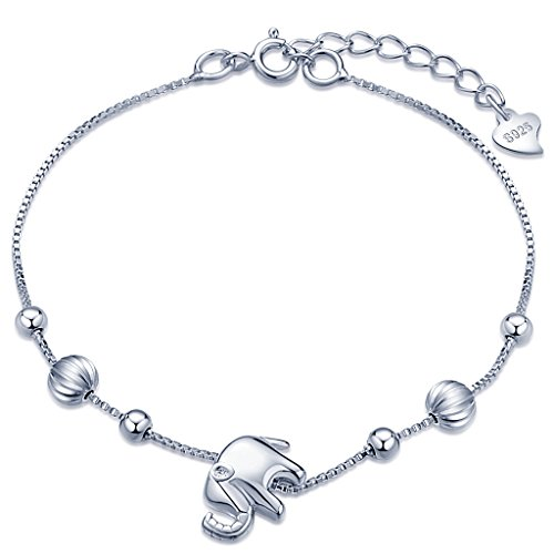 Unendlich U Niedlich Elefant Beads Damen Charm-Armband 925 Sterling Silber Armkette Verstellbar Armkettchen, Silber