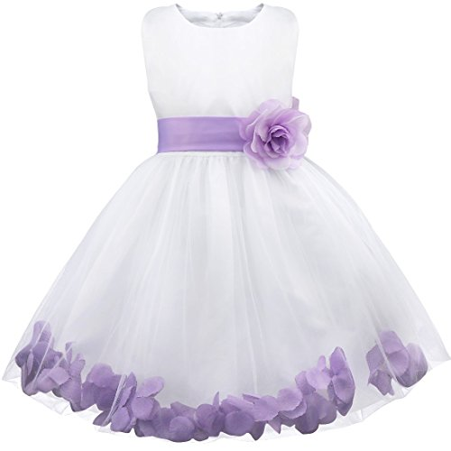 iiniim Girls Petals Tulle Princess Wedding Pageant Party Flower Girl Dress White Lavender 12