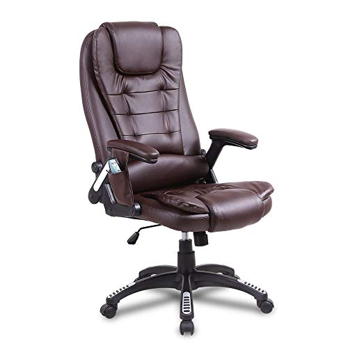 CAMORSA Premium Office Massage Chair Ergonomic Leather Executive Chair - 6 Massage Point 2 Heating Point - Height Adjustable 360 Swivel with Rolling Wheels (Brown)