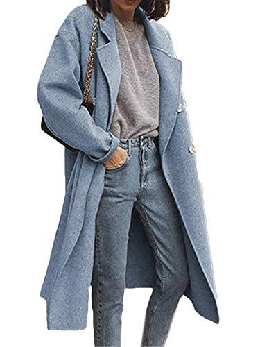 Onsoyours Damen Winter Wollmantel Lang Blazer Elegant Warm Wintermantel Steppmantel Knopf Klassische Vintage Zweireihig Revers Schlack Slim Fit Trenchcoat A Blau XS