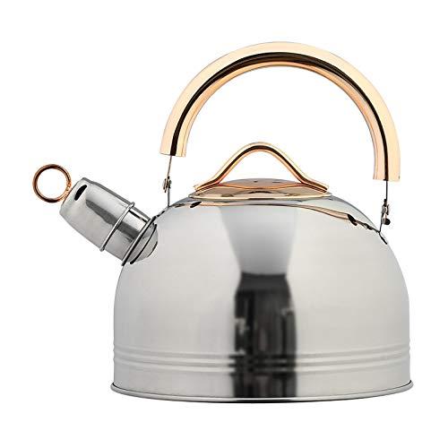 Hervidor silbido Hervidor de silbido de 3L para estufa de gas Todos los tops de la estufa Tienda de té de café de acero inoxidable con con tetera de mango dorado ( Capacity : 3L , Color : Silver )